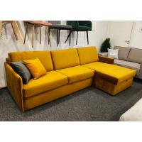 Dīvāns ELBEKO (Labais stūris, izvelkams)(Dzeltens, velveta)