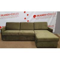 Dīvāns ELBEKO (Labais stūris, izvelkams)(Tumši zaļš, velveta)